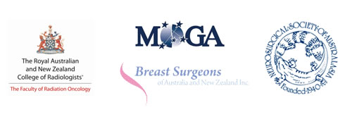 The Royal Australian and New Zealand College or Radiologists, Breast Surgeons of Australia & New Zealand Inc, Neurosurgical Society of Australasia logo, Medical Oncology Group of Australia