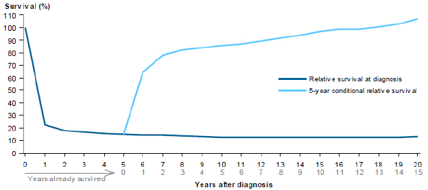 Line chart showing rate of relative survival of unknown primary site cancers from 2007 to 2011 by years after diagnosis. Survival rates are grouped by relative survival at diagnosis and 5-year conditional relative survival. Survival rates drop steeply in the first year, then plateau over 19 years for relative survival at diagnosis; while 5-year conditional relative survival rates quickly increase in the first year, and then slowly increase over a period of 14 years.