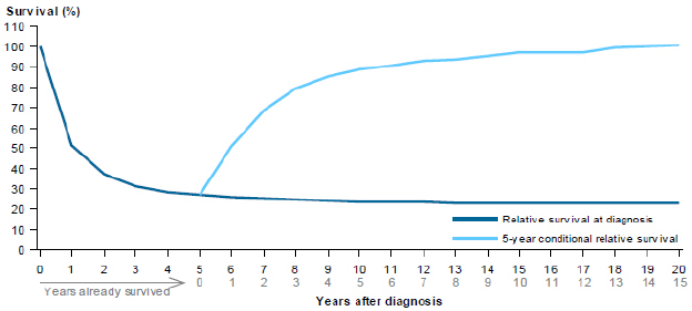Line chart showing rate of relative survival of stomach cancer from 2007 to 2011 by years after diagnosis. Survival rates are grouped by relative survival at diagnosis and 5-year conditional relative survival. Survival rates drop steeply in the first 2 years, then plateau over 18 years for relative survival at diagnosis; while 5-year conditional relative survival rates slowly increase over a period of 15 years.