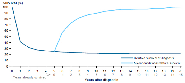 Line chart showing rate of relative survival of acute myeloid leukaemia from 2007 to 2011 by years after diagnosis. Survival rates are grouped by relative survival at diagnosis and 5-year conditional relative survival. Survival rates steeply drop in the first year, then plateau over 19 years for relative survival at diagnosis; while 5-year conditional relative survival rates slowly increase over a period of 15 years.